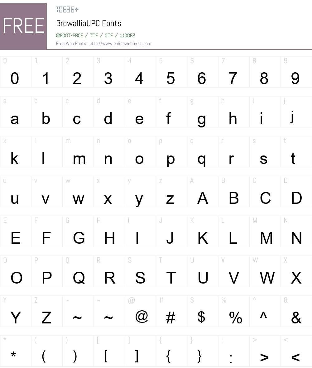 BrowalliaUPC Font Screenshots