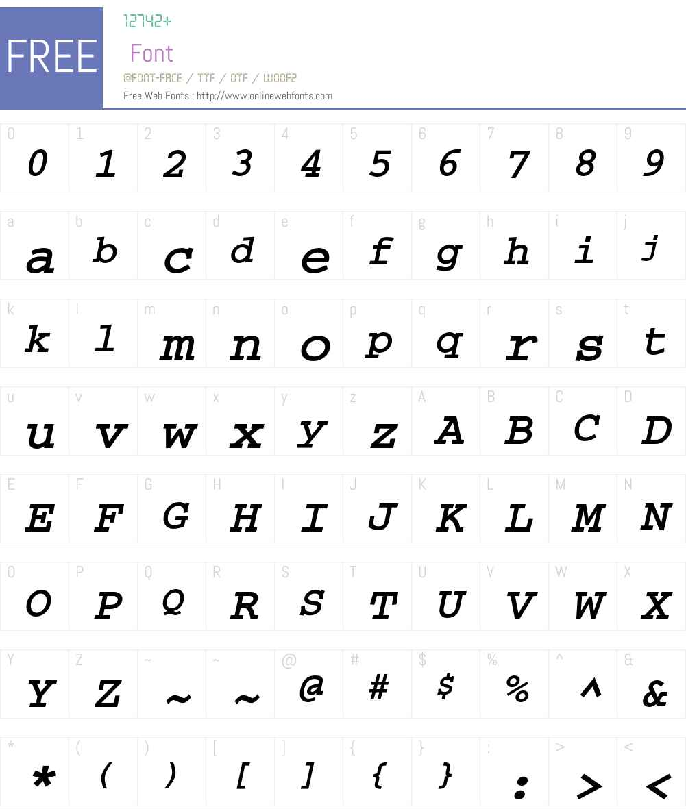 CourierC Font Screenshots