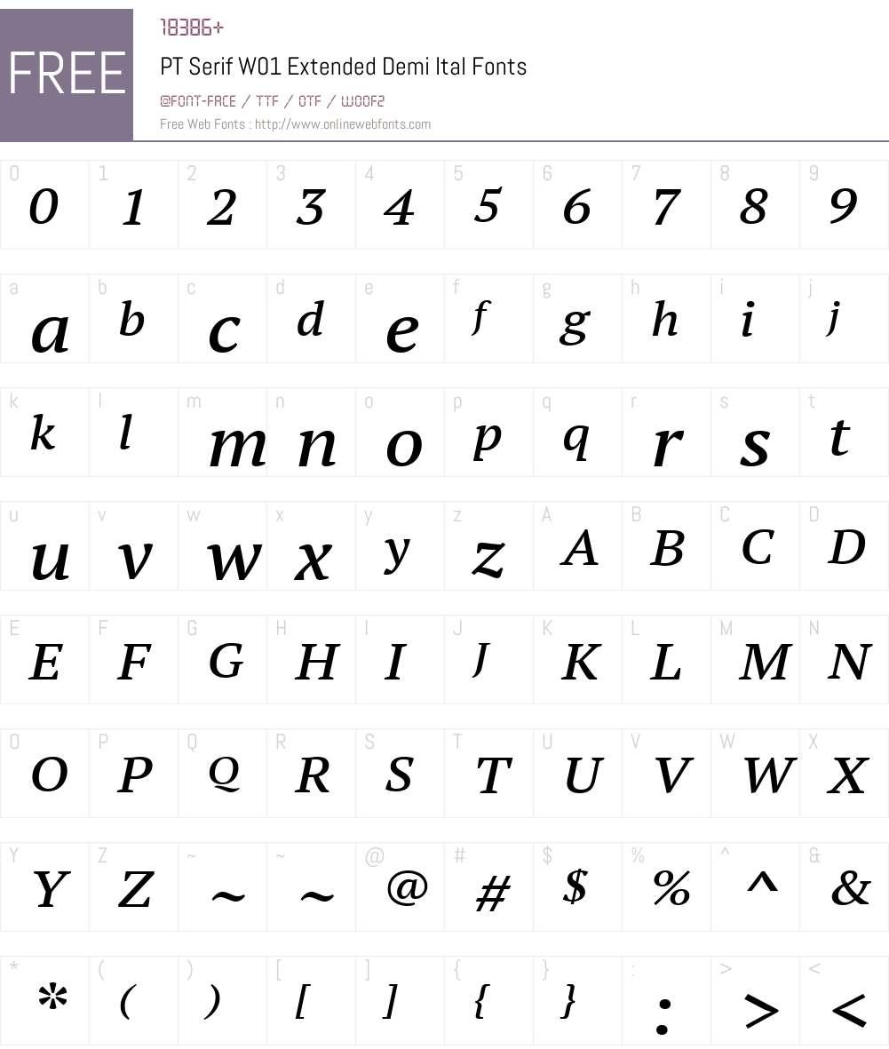PTSerifW01-ExtendedDemiItal Font Screenshots