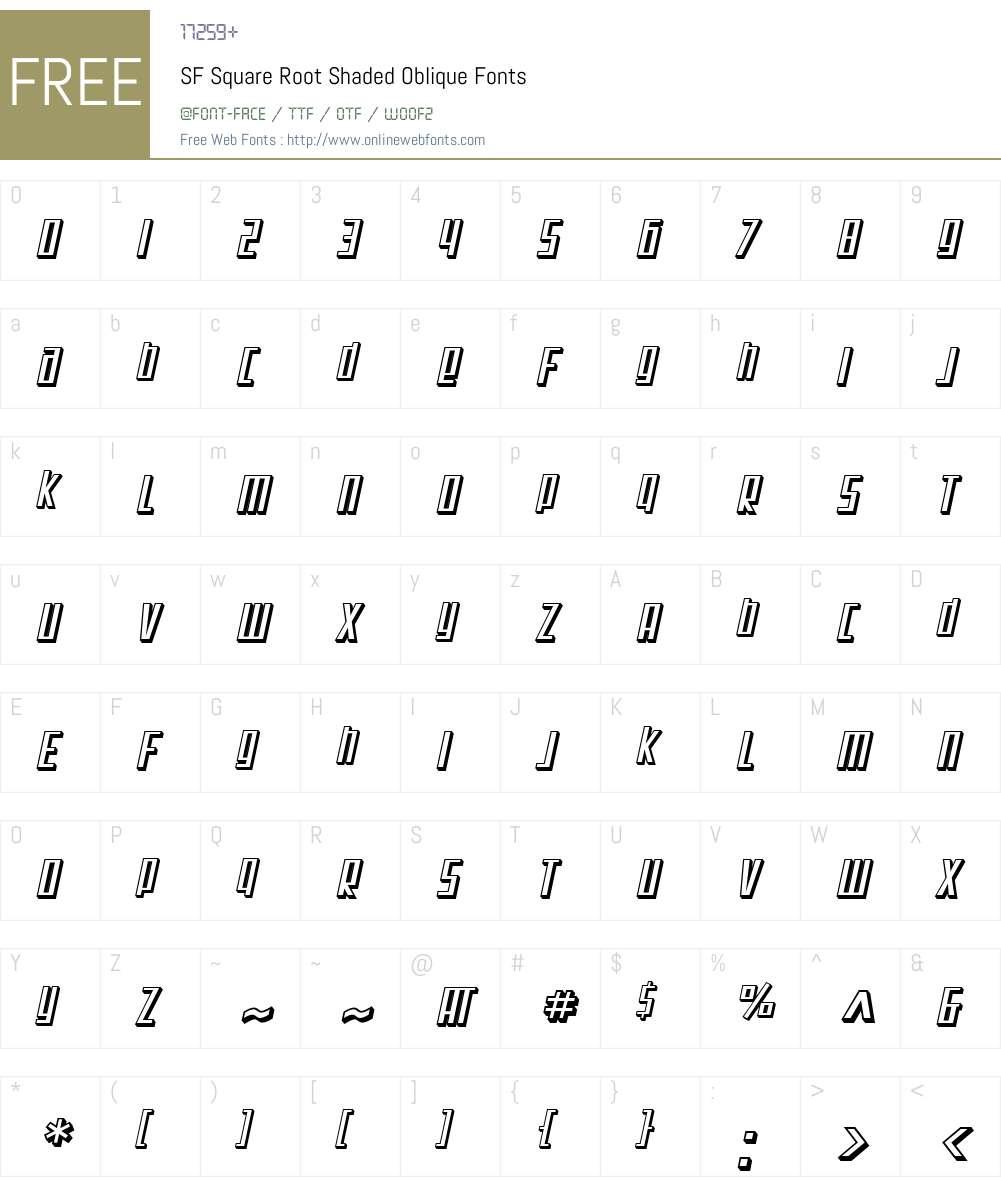 SF Square Root Shaded Font Screenshots