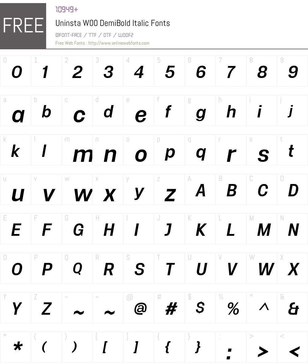 UninstaW00-DemiBoldItalic Font Screenshots