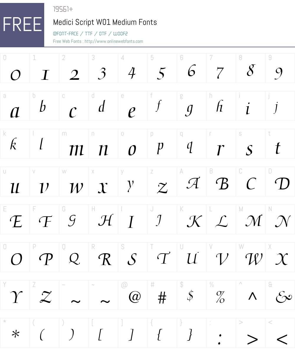 MediciScriptW01-Medium Font Screenshots