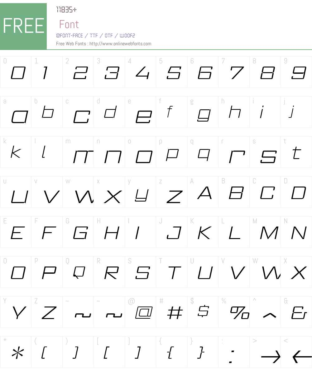 RegisterWideW00-XtraLightIt Font Screenshots