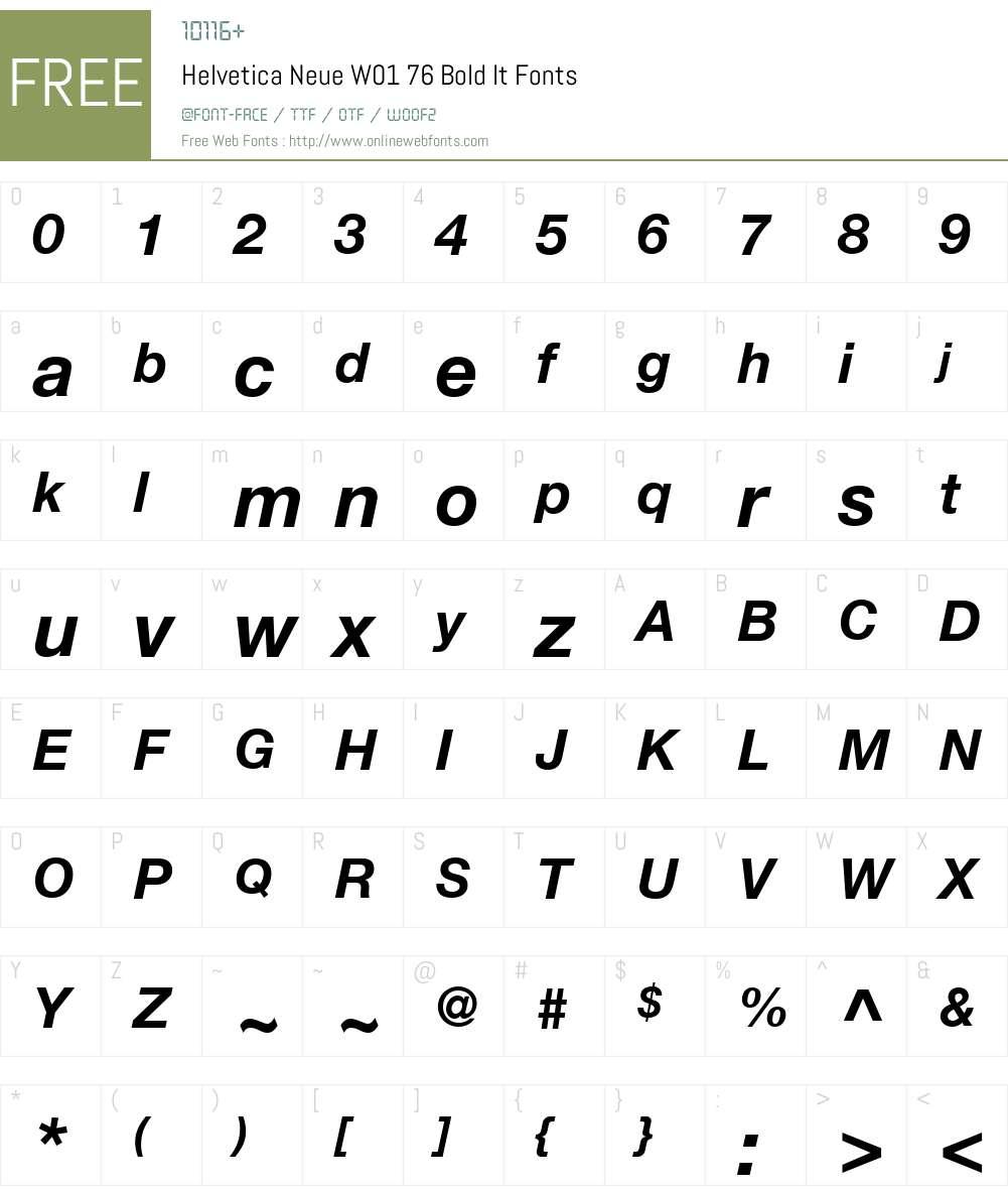 HelveticaNeueW01-76BoldIt Font Screenshots