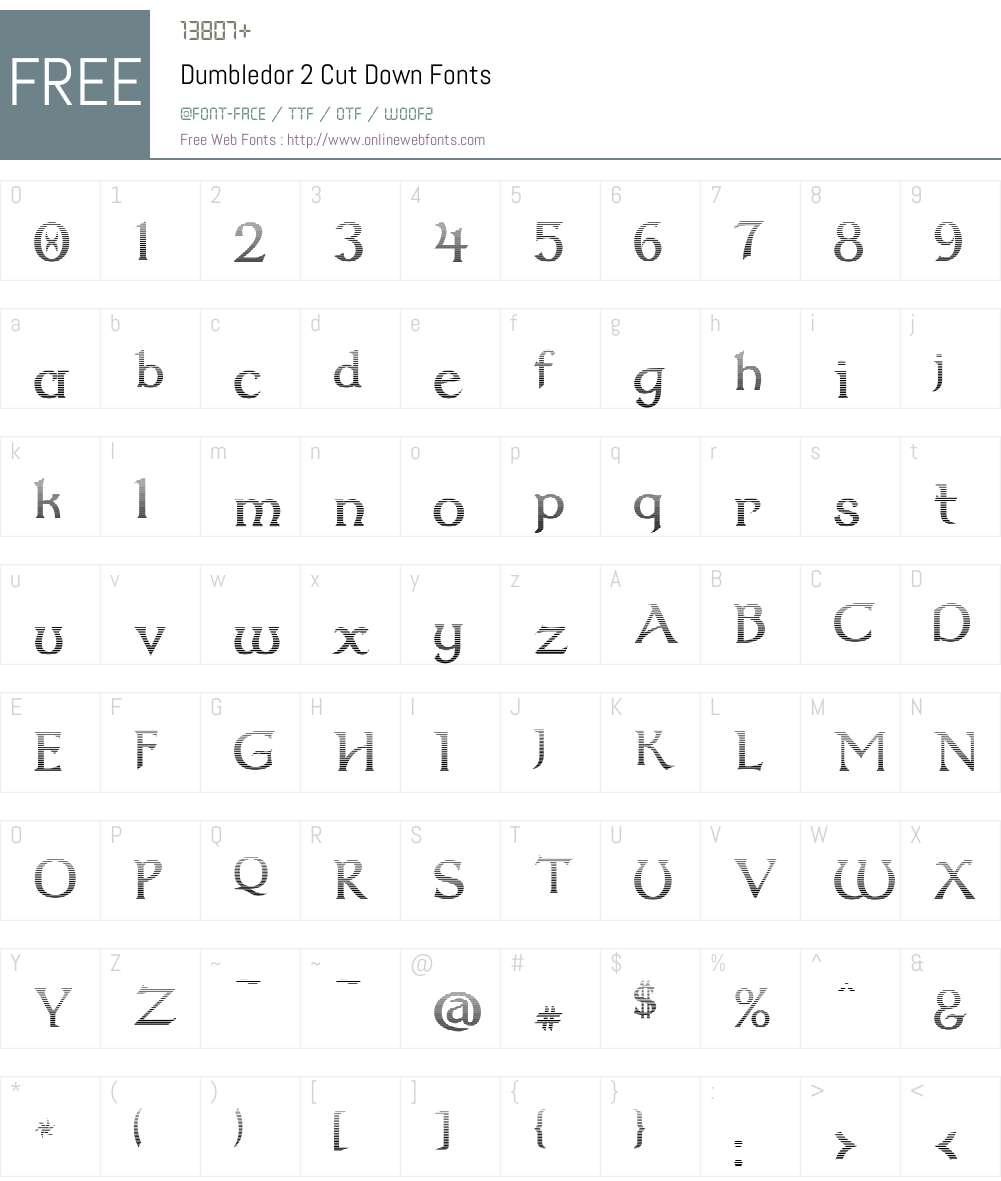 Dumbledor 2 Cut Down Font Screenshots