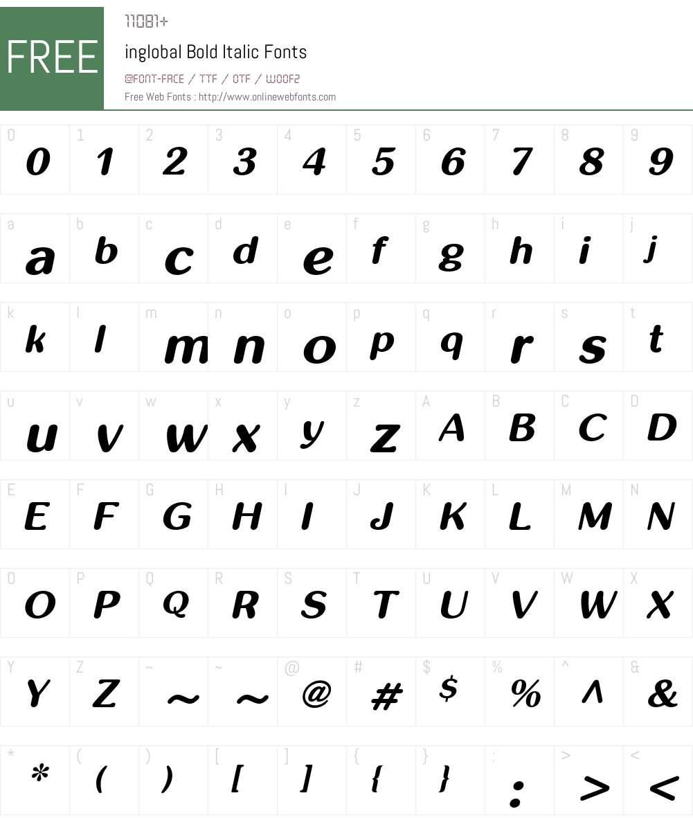inglobal Font Screenshots