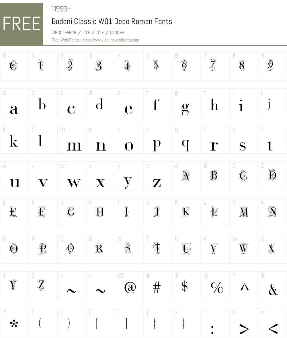 BodoniClassicW01-DecoRoman Font Screenshots
