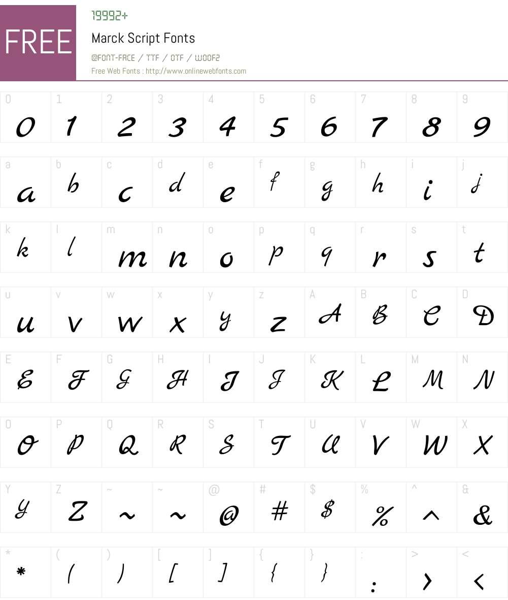 Marck Script Font Screenshots