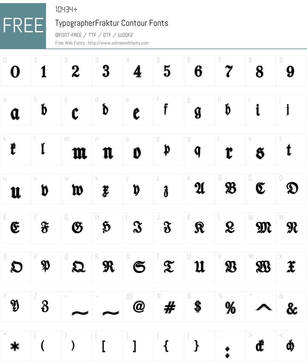 TypographerFraktur Contour Font Screenshots