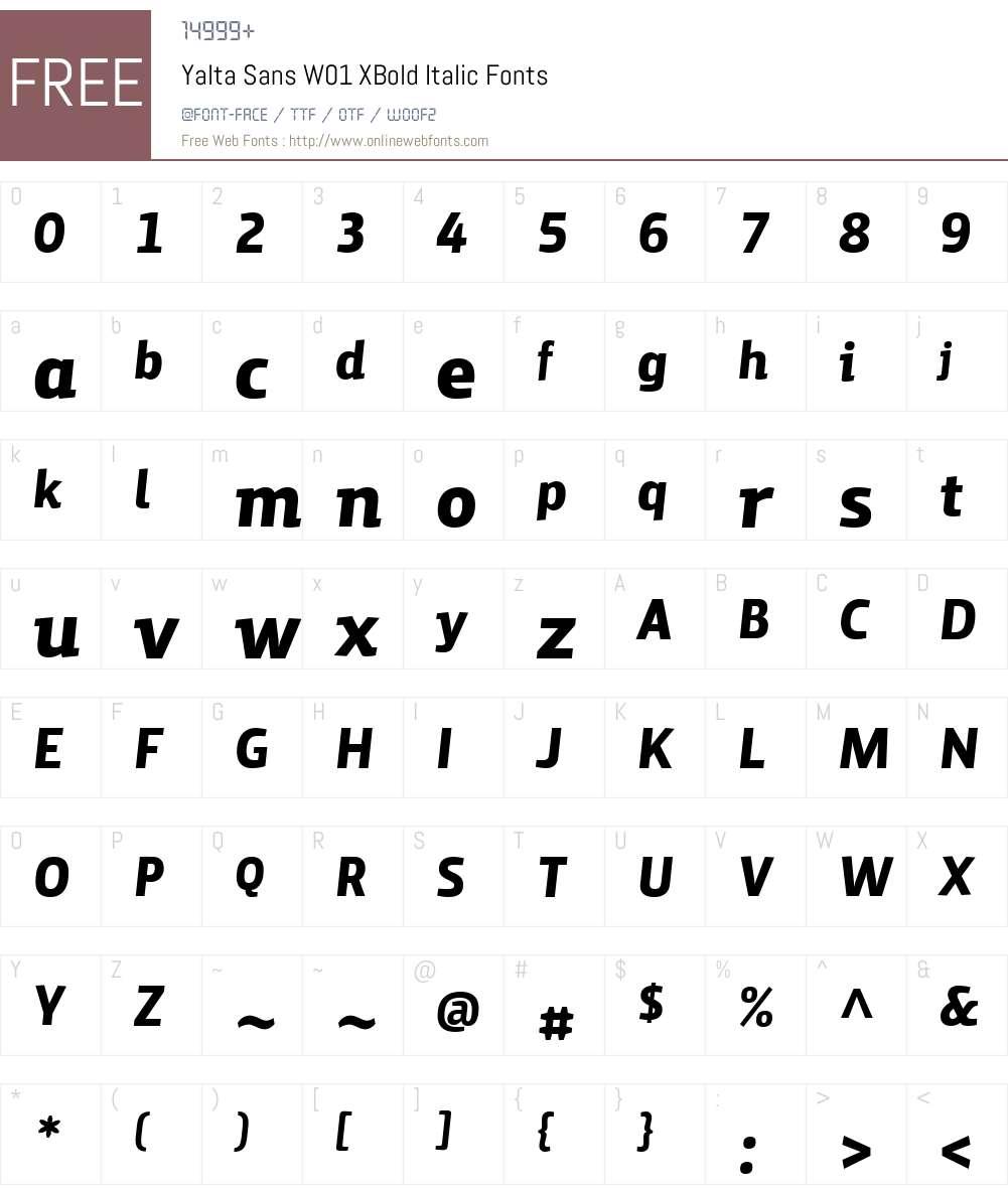 YaltaSansW01-XBoldItalic Font Screenshots