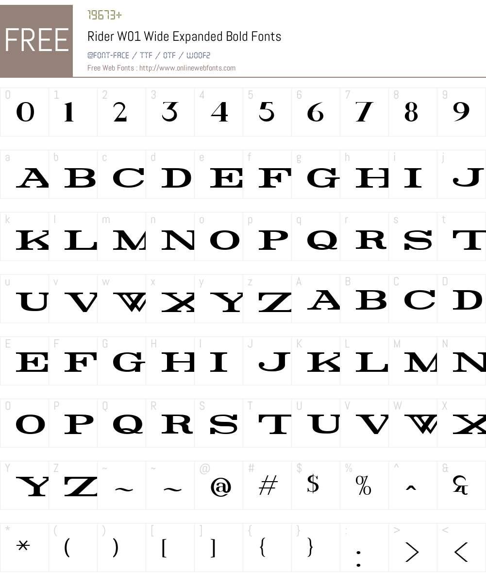 RiderW01-WideExpandedBold Font Screenshots