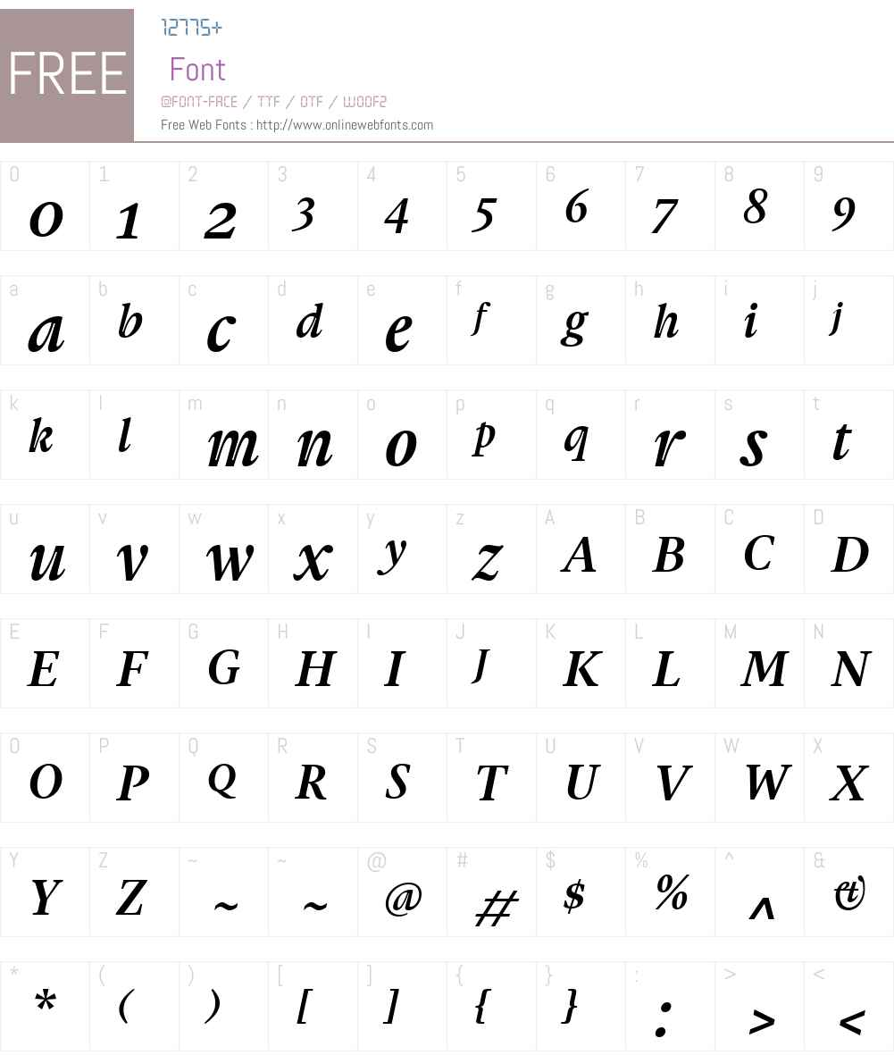 GauthierFYW01-BoldItalic Font Screenshots