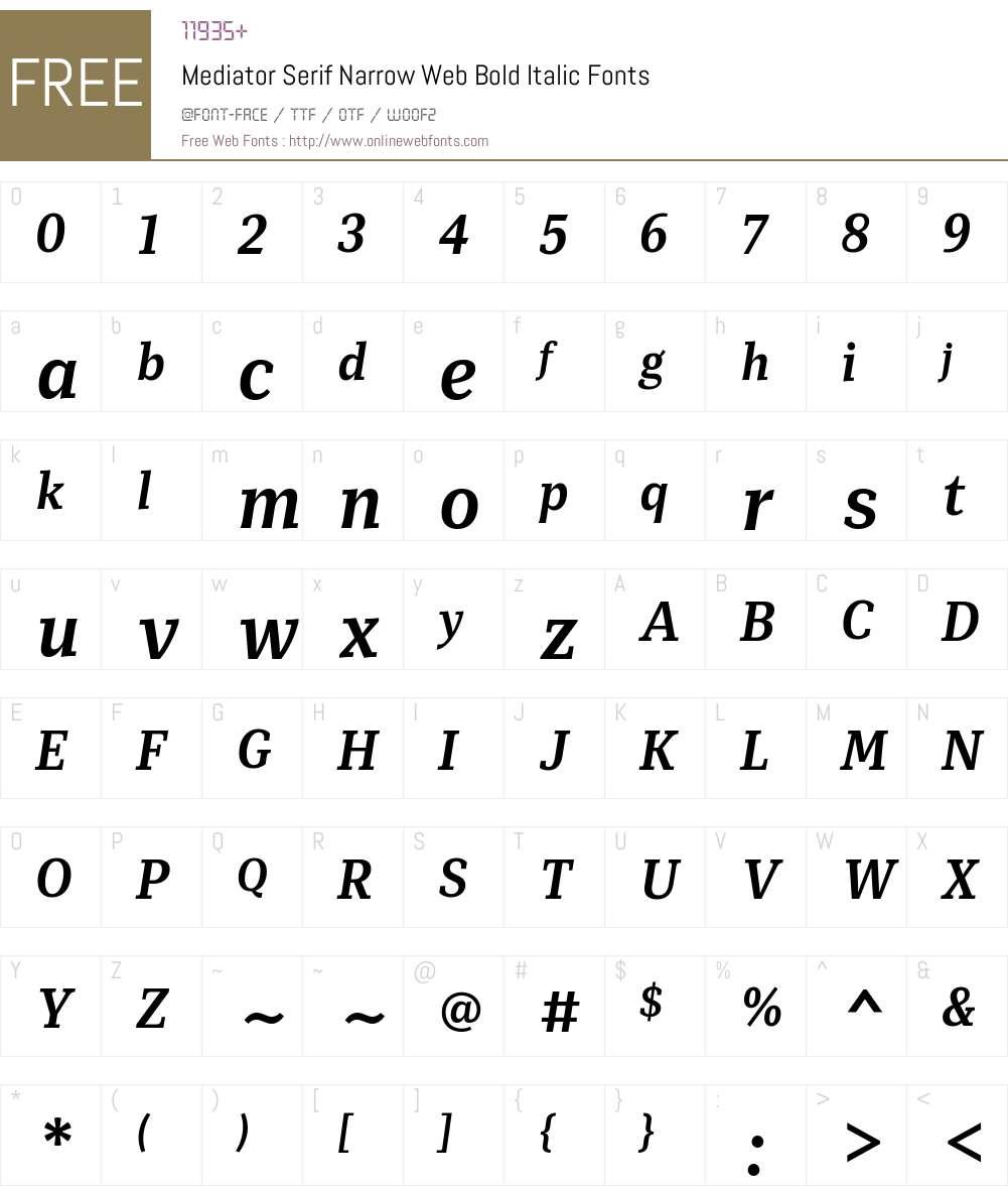 Mediator Serif Narrow Web Bold Font Screenshots