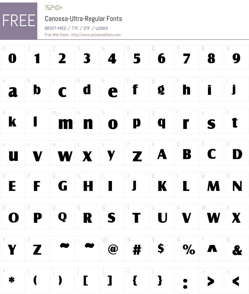 Canossa-Ultra Font Screenshots