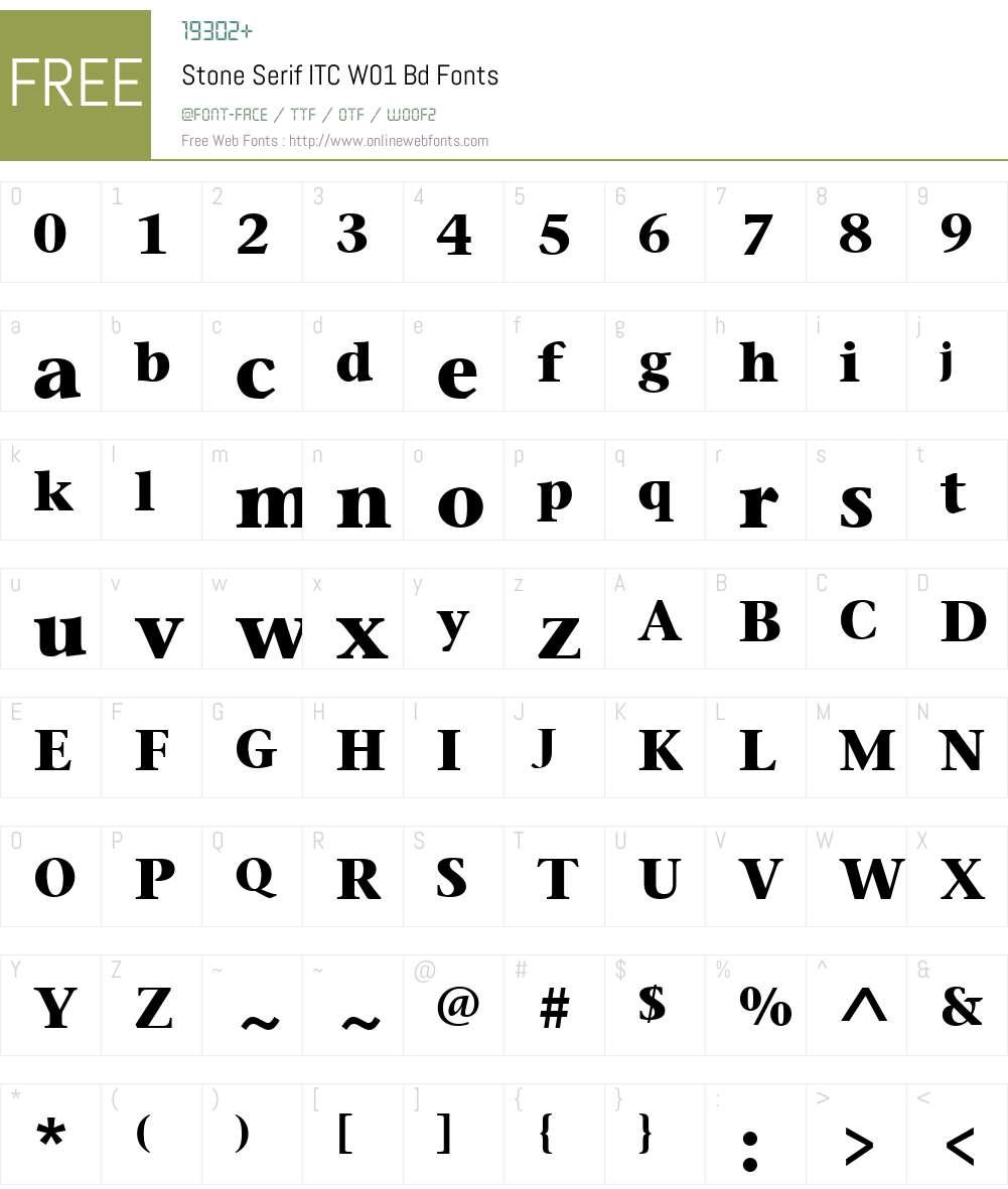 StoneSerifITCW01-Bd Font Screenshots