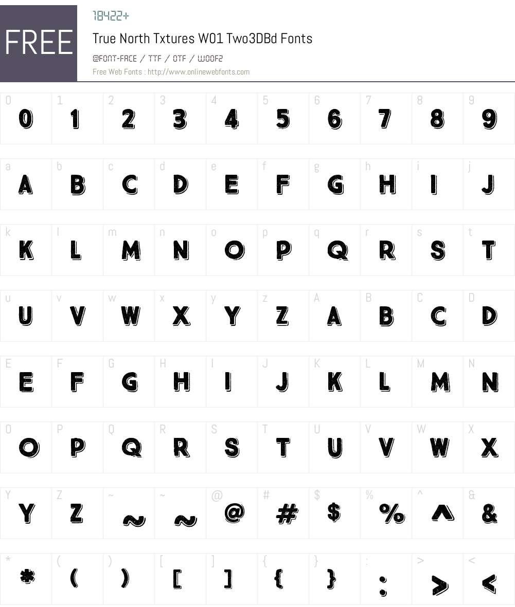 TrueNorthTxturesW01-Two3DBd Font Screenshots