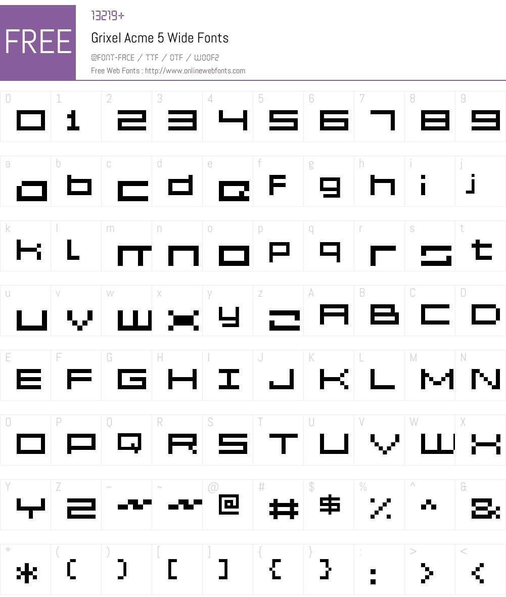 Grixel Acme 5 Wide Font Screenshots