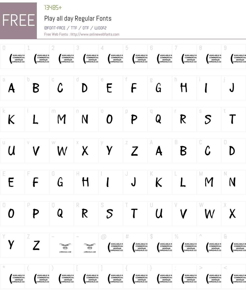 Play all day Font Screenshots