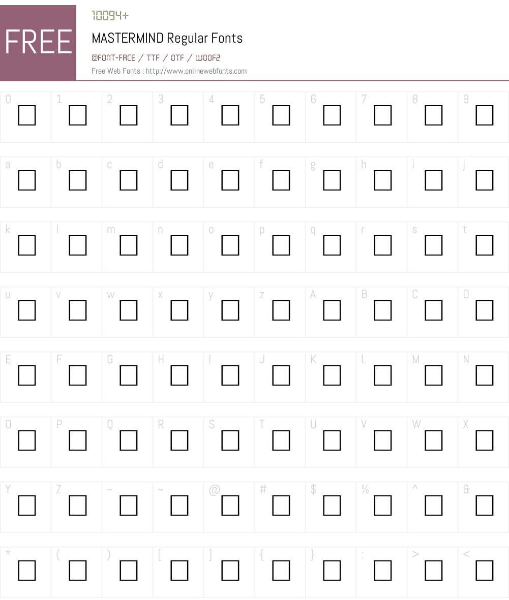 MASTERMIND Font Screenshots