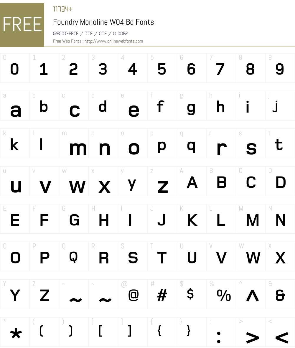 Foundry Monoline Font Screenshots