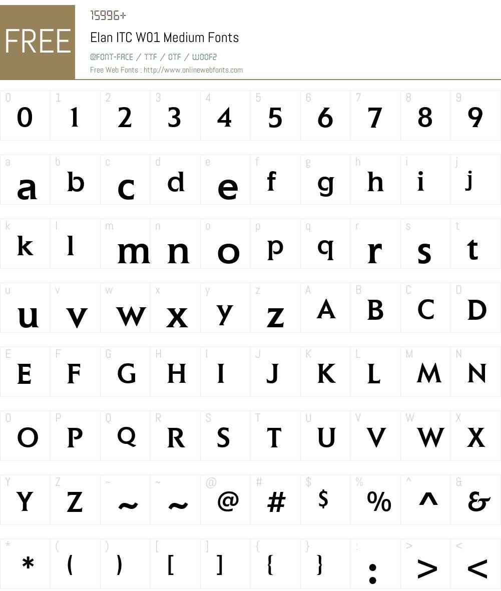 ElanITCW01-Medium Font Screenshots