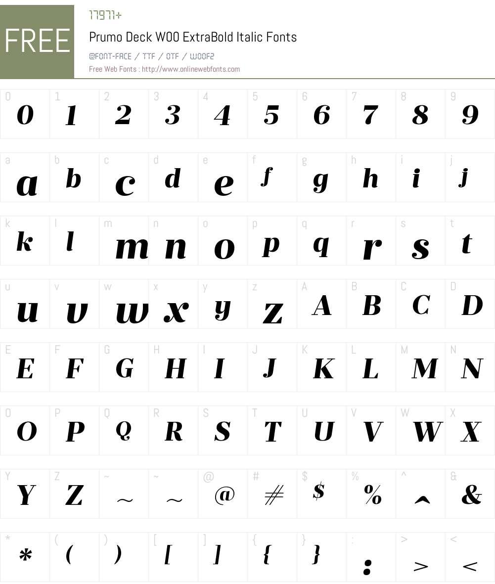 PrumoDeckW00-ExtraBoldIt Font Screenshots
