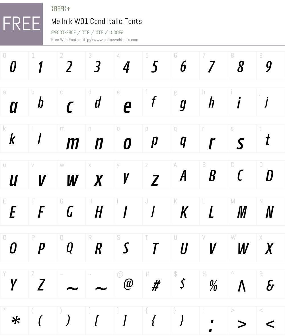 MellnikW01-CondItalic Font Screenshots