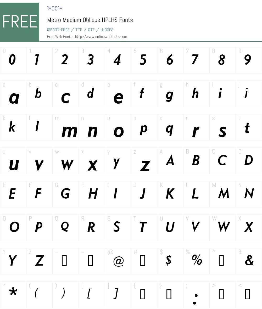 Metro Medium Oblique Font Screenshots