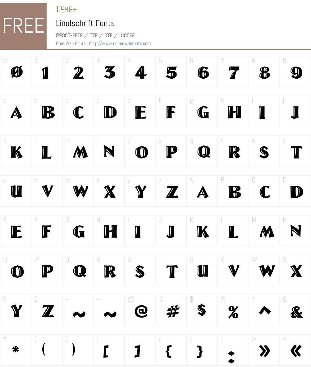 Linolschrift Font Screenshots