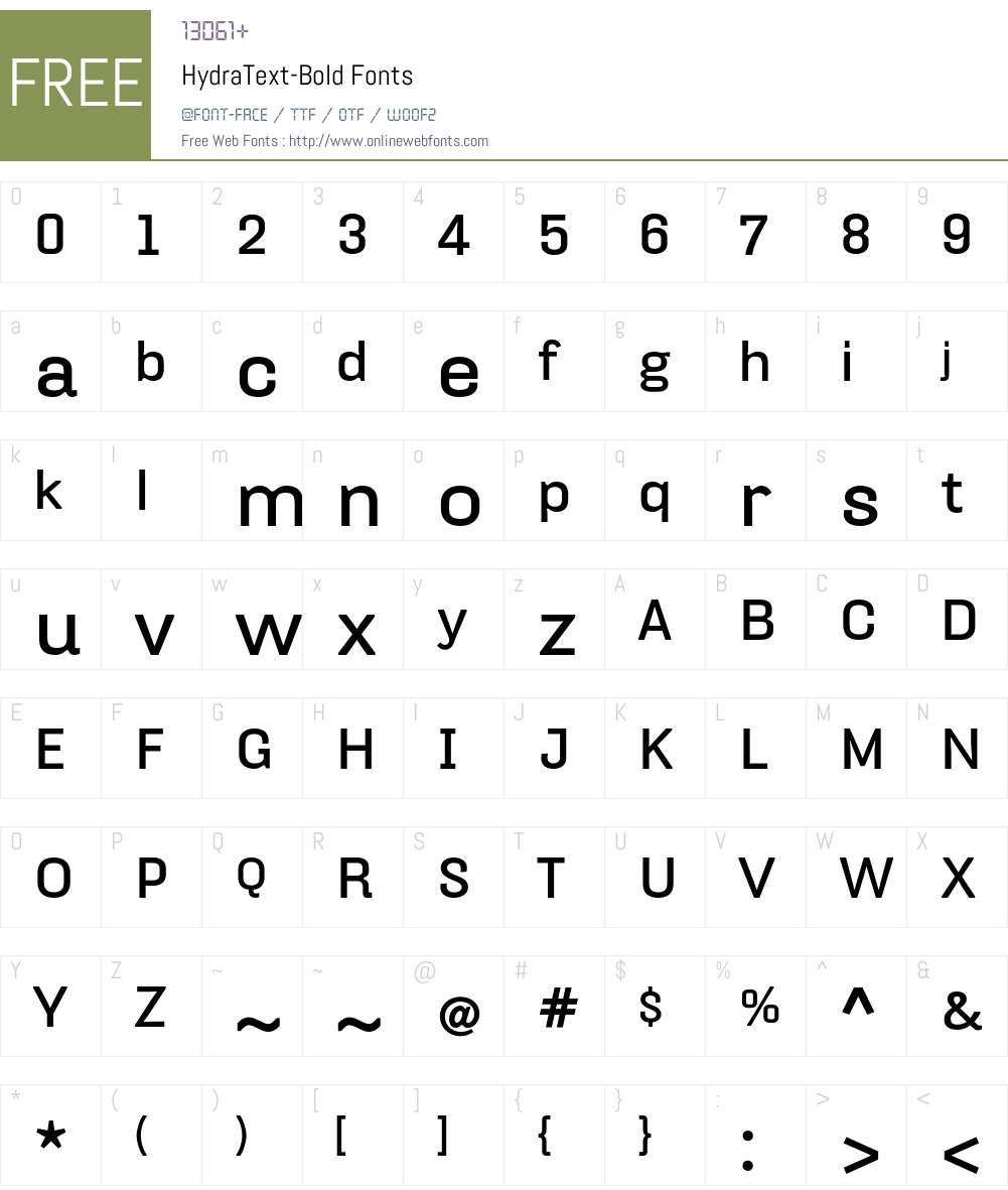 HydraText-Bold Font Screenshots