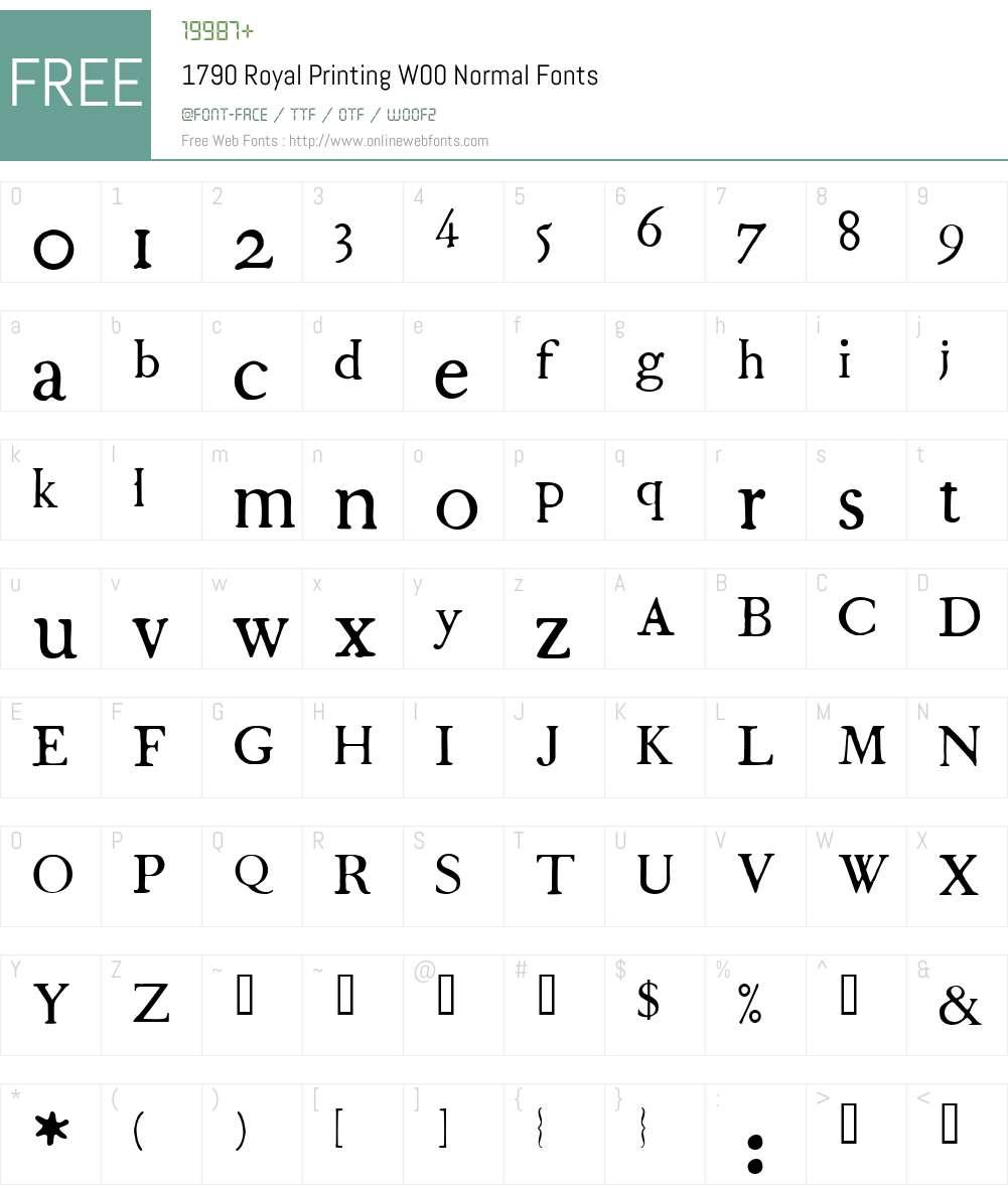 1790 Royal Printing Font Screenshots