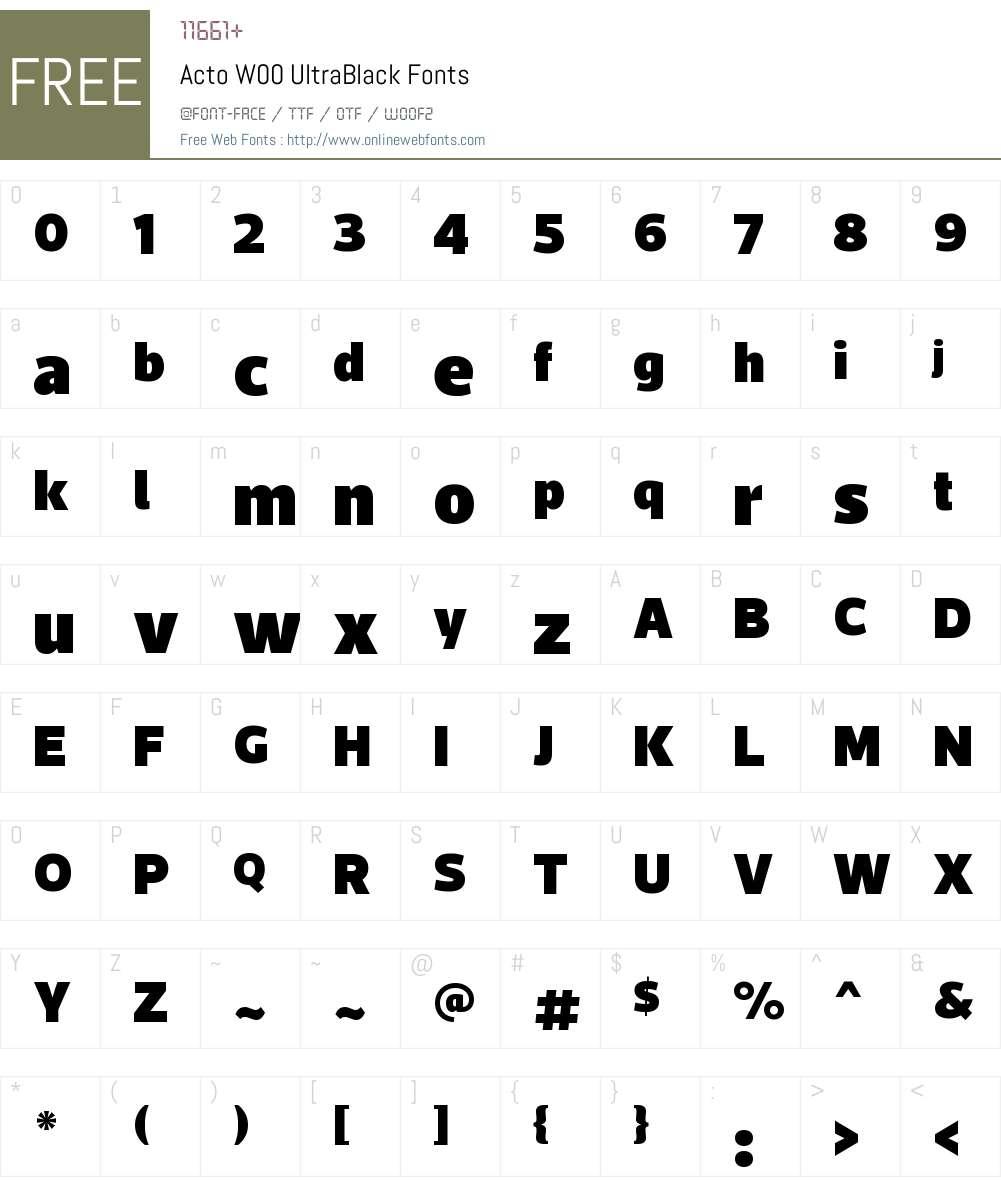 ActoW00-UltraBlack Font Screenshots