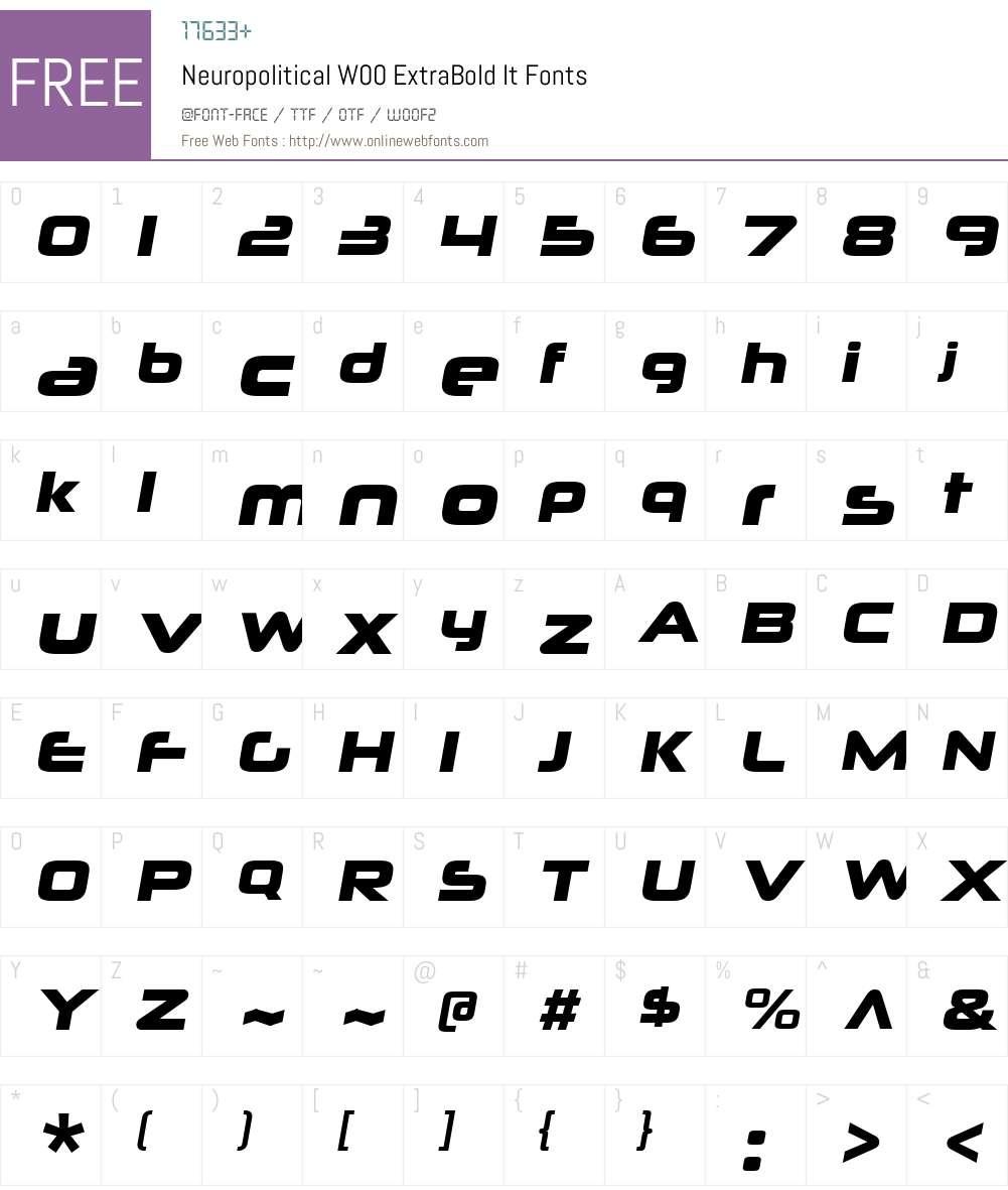 NeuropoliticalW00-XBoldIt Font Screenshots
