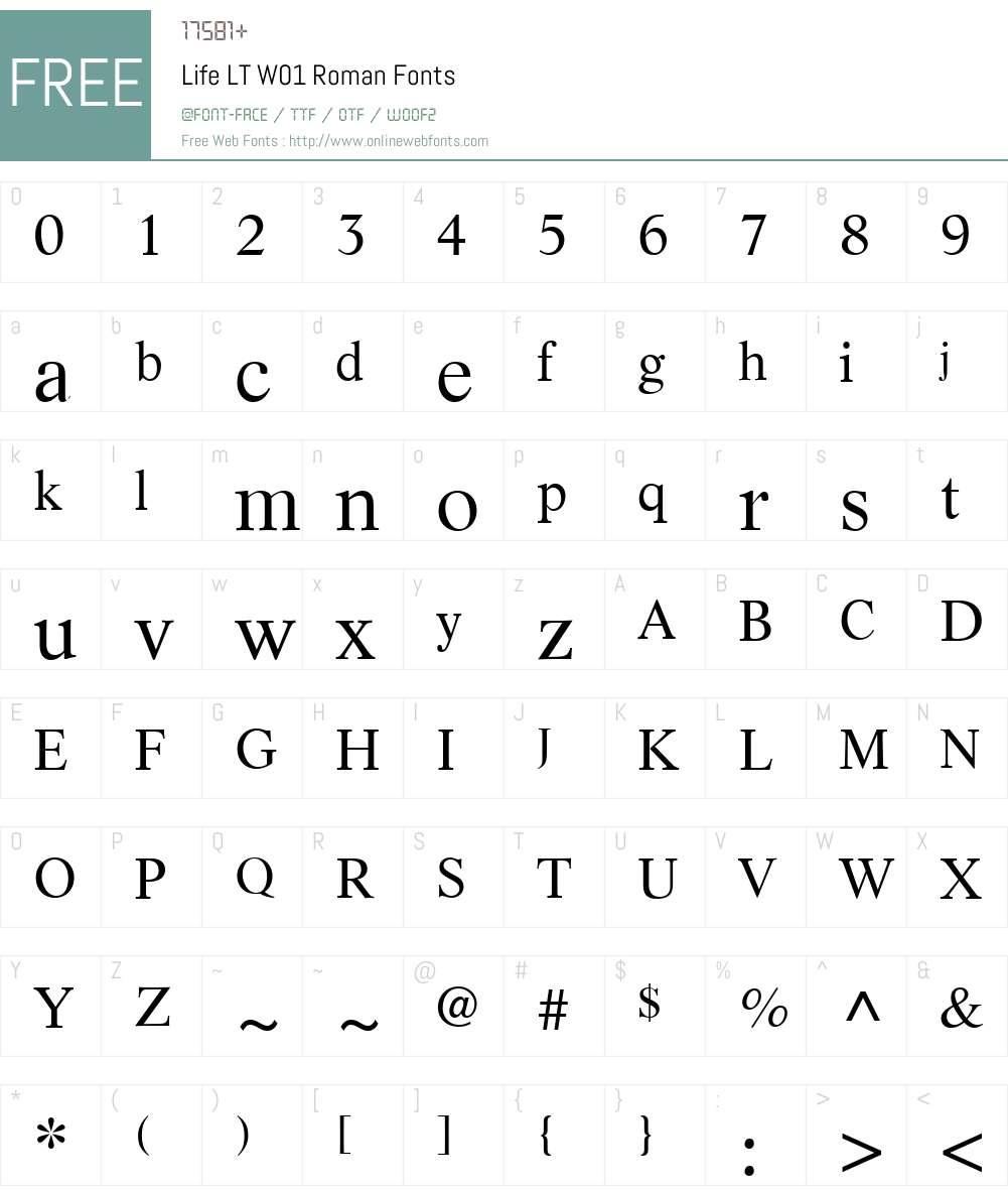 LifeLTW01-Roman Font Screenshots