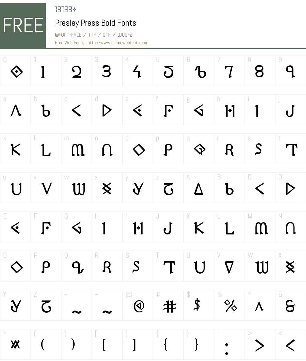 Presley Press Bold Font Screenshots