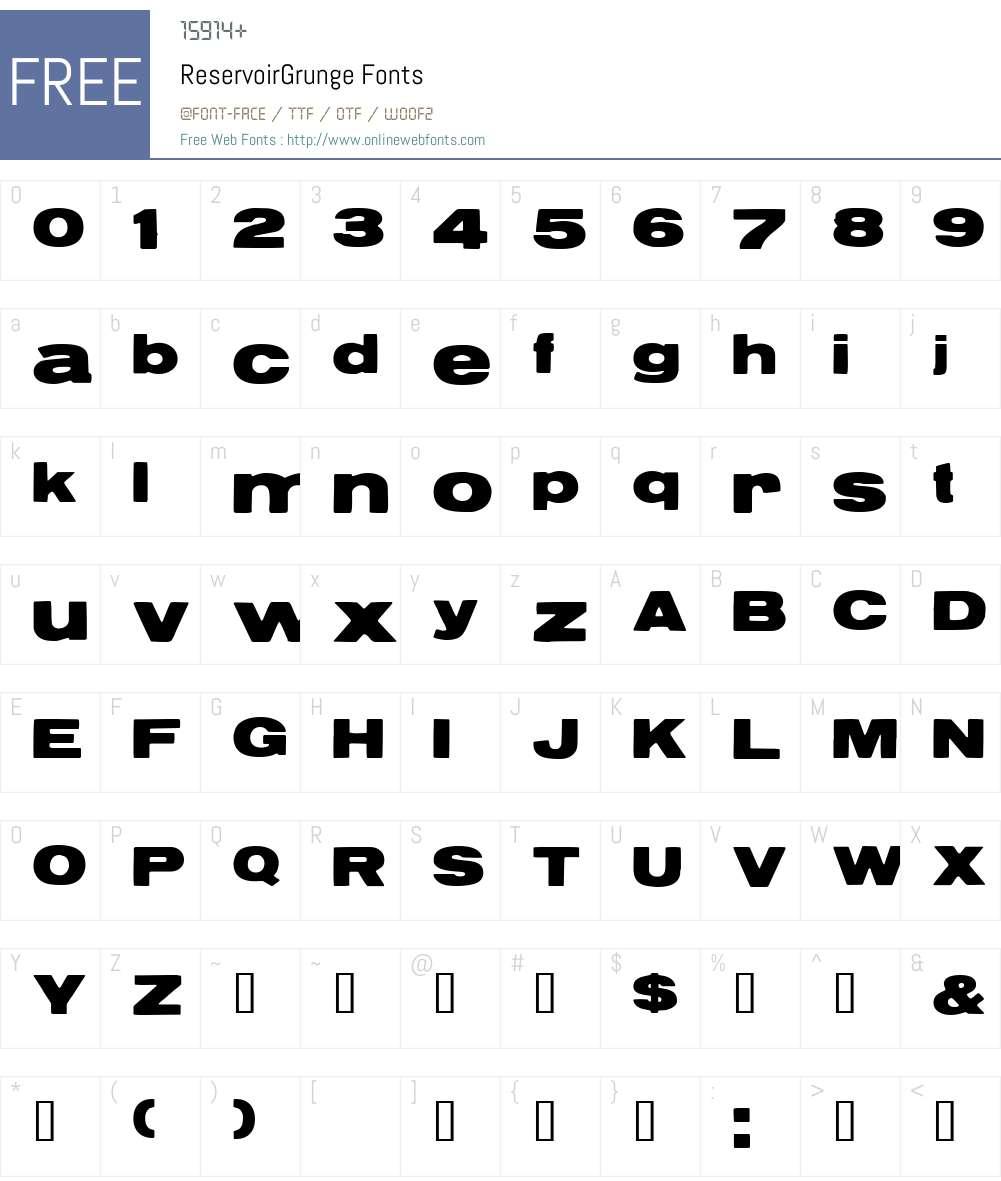 ReservoirGrunge Font Screenshots