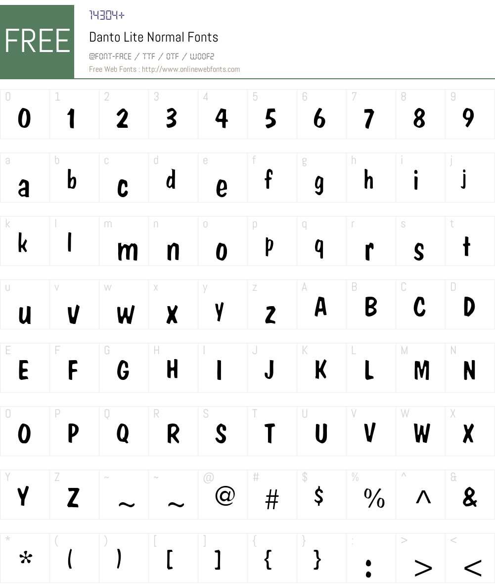 Danto Lite Font Screenshots
