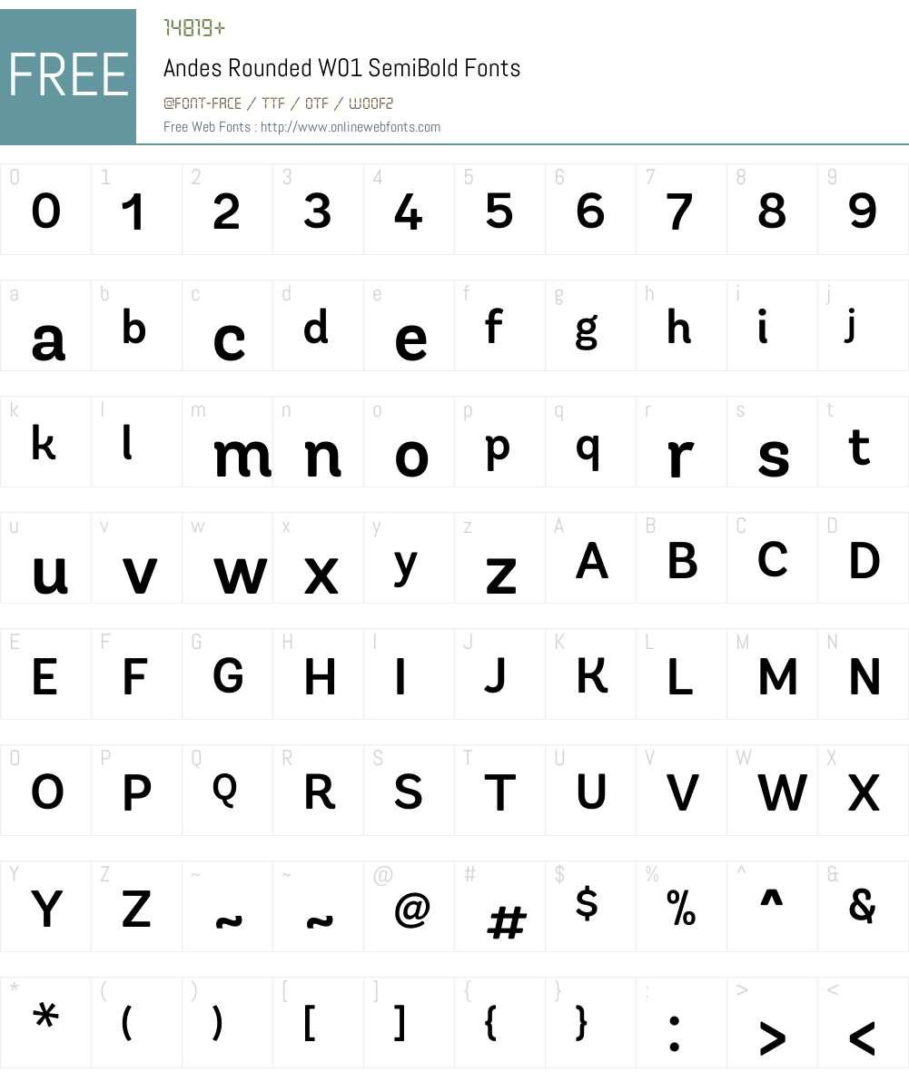 AndesRoundedW01-SemiBold Font Screenshots