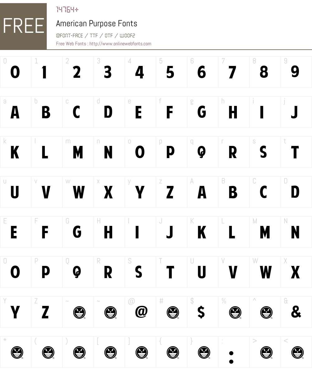 American Purpose Font Screenshots
