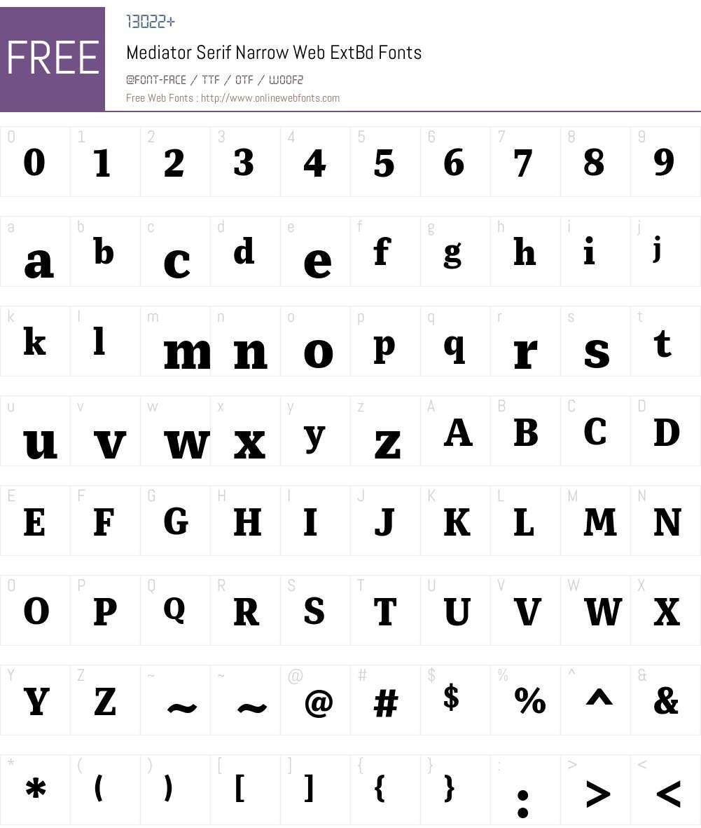 Mediator Serif Narrow Web ExtBd Font Screenshots