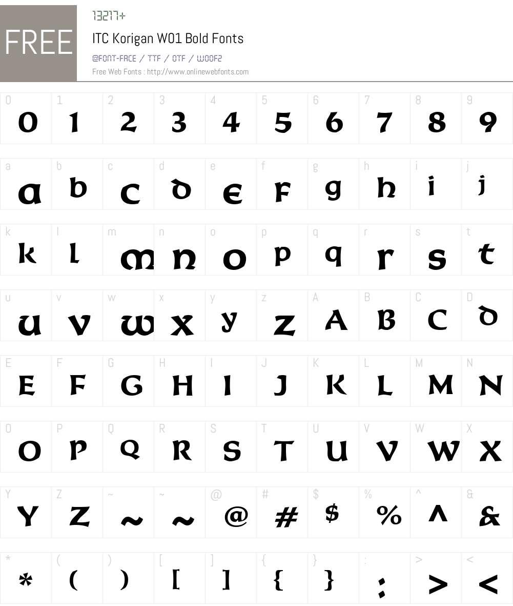 ITCKoriganW01-Bold Font Screenshots