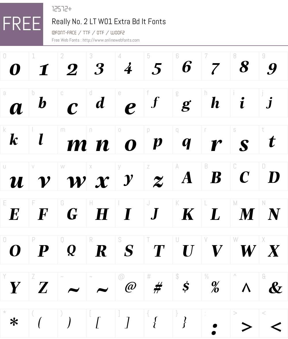 ReallyNo.2LTW01-ExtraBdIt Font Screenshots