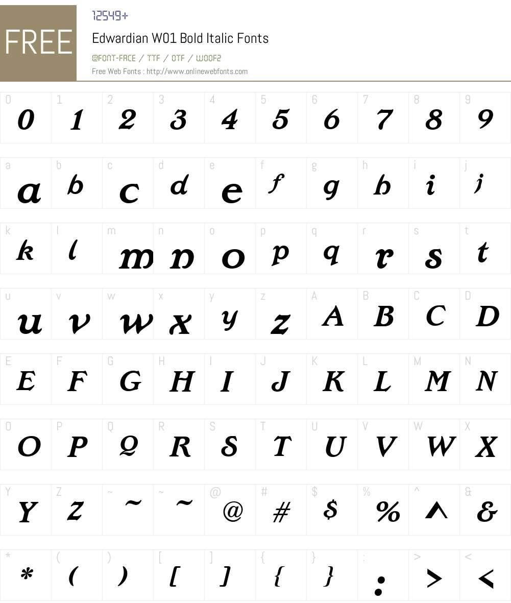 EdwardianW01-BoldItalic Font Screenshots