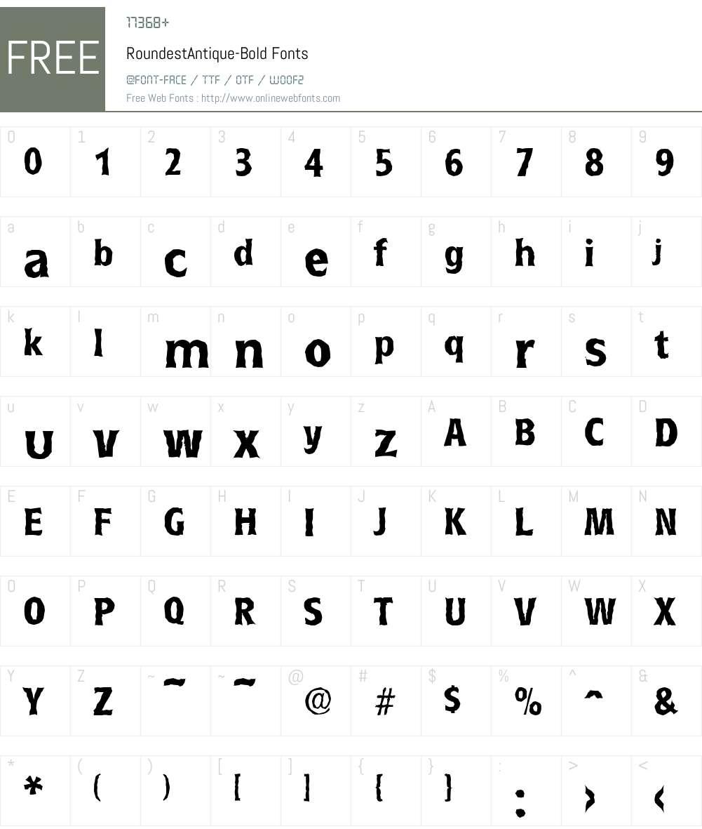 RoundestAntique Font Screenshots