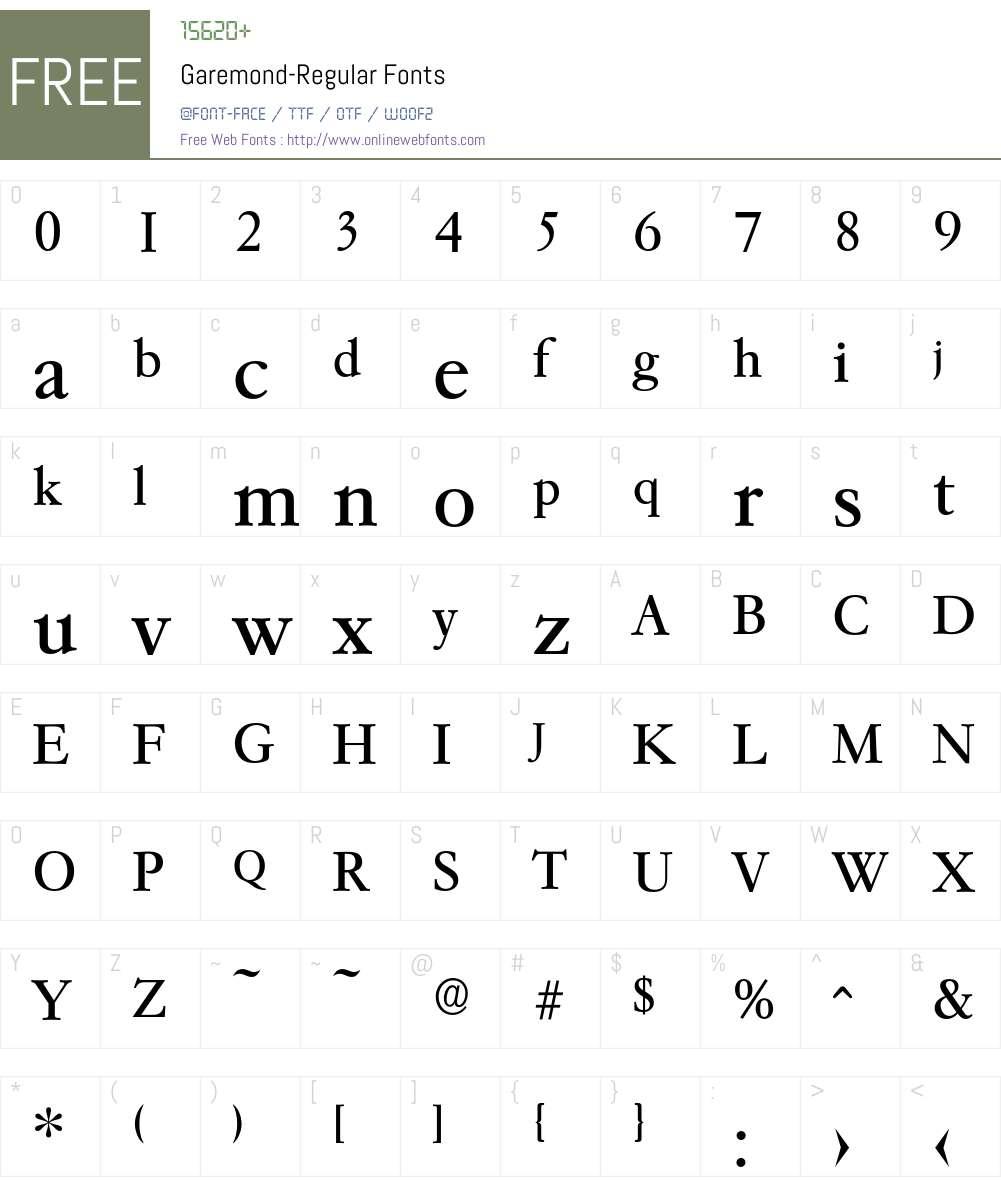 Garemond-Regular Font Screenshots