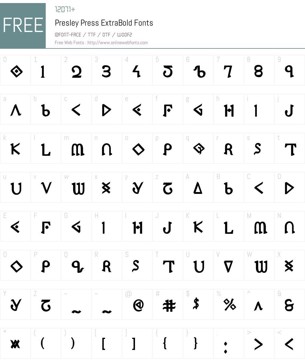 Presley Press ExtraBold Font Screenshots