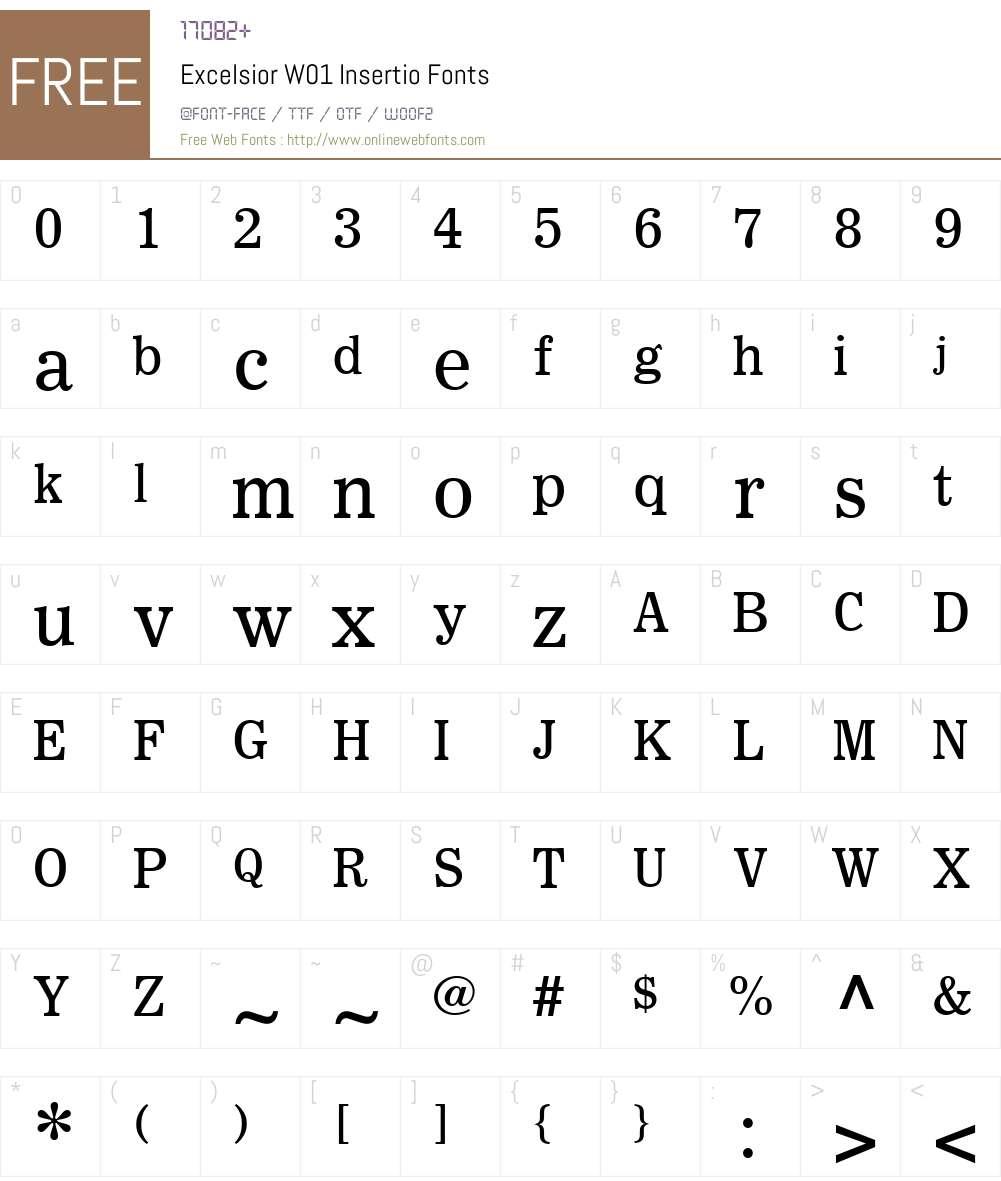 ExcelsiorW01-Insertio Font Screenshots