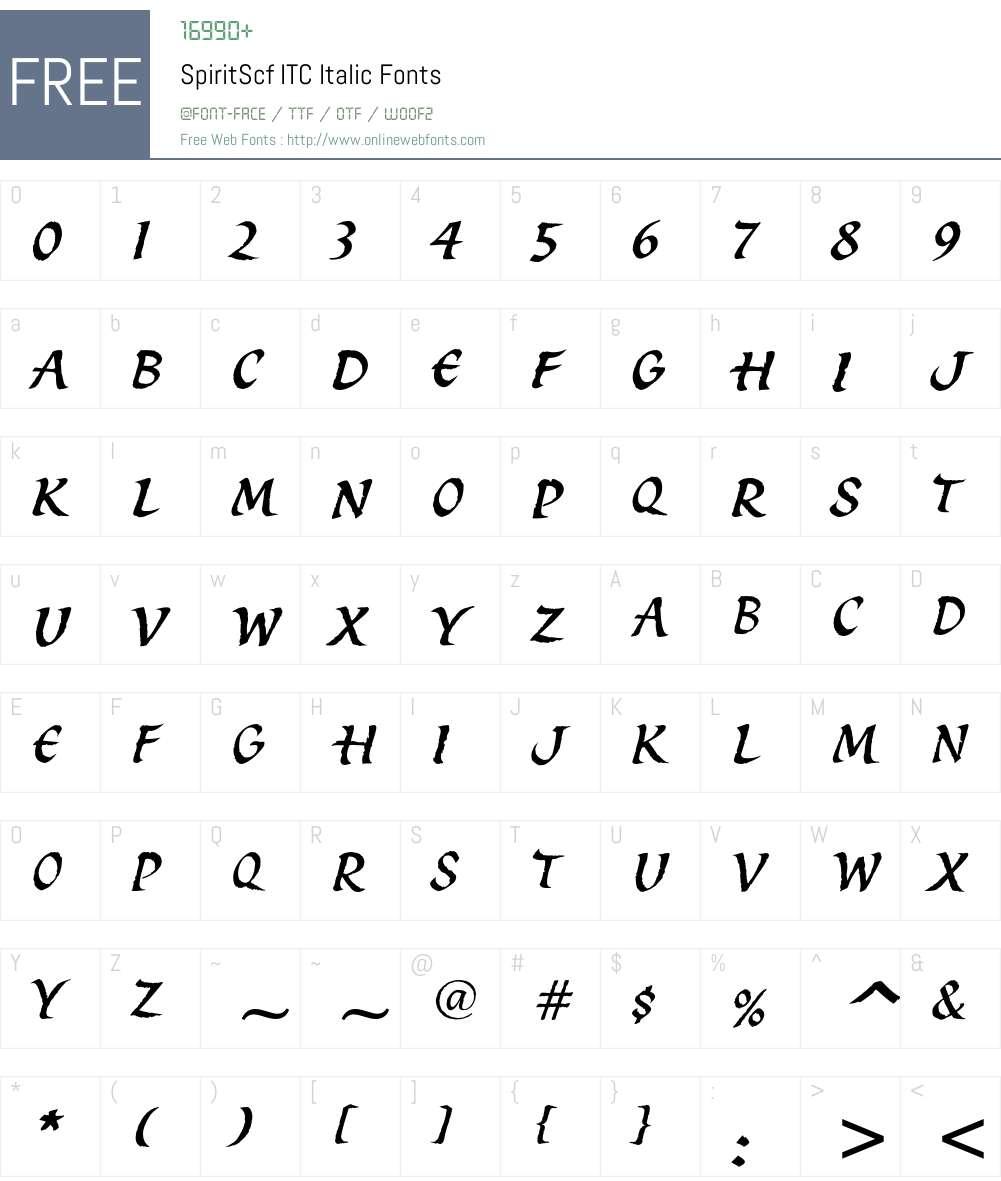SpiritScf ITC Font Screenshots