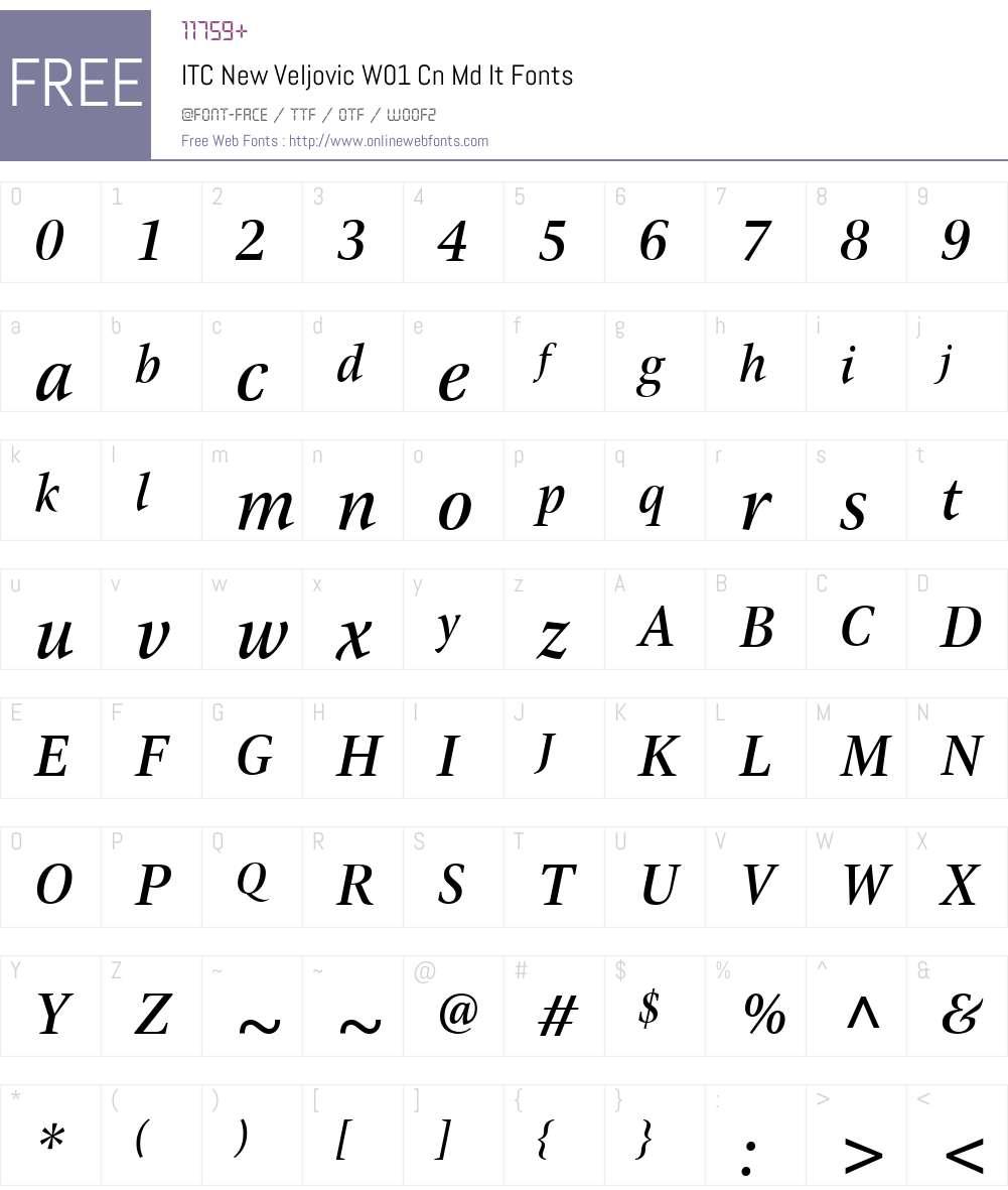 ITCNewVeljovicW01-CnMdIt Font Screenshots