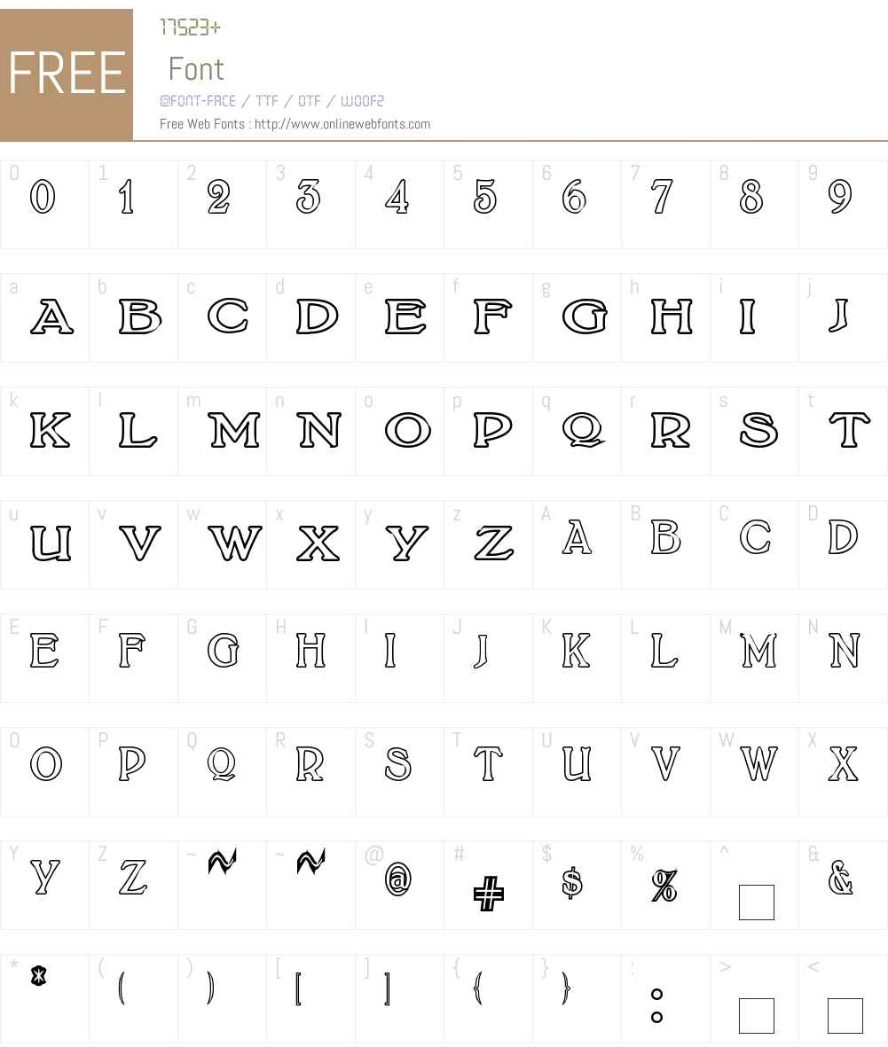 BoltonTitlingOutline Font Screenshots